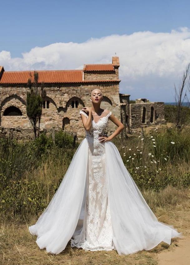 Съемный шлейф Begonia для свадебного платья