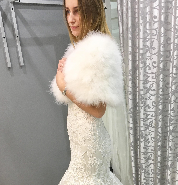Свадебное манто из лебединого пуха